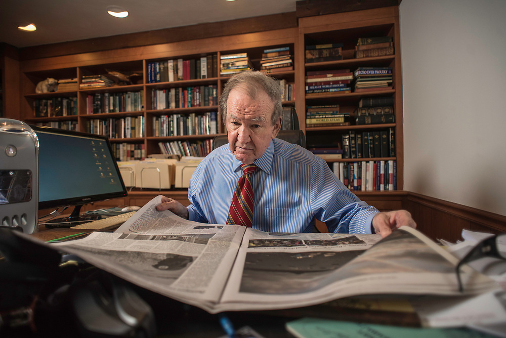 MCLEAN, VA -- 3/21/17 -- Buchanan reads five newspapers front-to-back everyday. Respected conservative commentator Pat Buchanan reflects on his career at his home in McLean. .…by André Chung #_AC23996