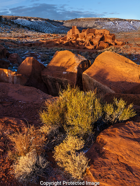 Wupatki dwellling, Wupatki National Monument, winter morning, AZ