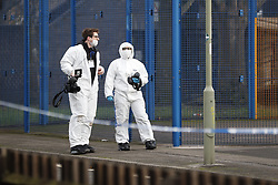 © Licensed to London News Pictures. 04/01/2018. Oxford, UK. The scene where the body of a 16 year old boy was discovered next to the River Thames in Oxford, Oxfordshire yesterday evening. A man and a woman have been arrested after the victim was found with stab wounds at Friars Wharf, who later died in hospital. Photo credit: Peter Macdiarmid/LNP