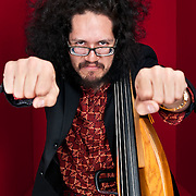 Portrait of Lorenzo Vasquez, bass musician Rumbankete, a Los Angeles, California-based salsa orchestra, taken in Woodland Hills, Calif., on April 3, 2010, for the band's promotional use and album cover.  Photo by Jen Klewitz.  (Jen Klewitz © 2010)