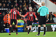 Lewis Cook (16) of AFC Bournemouth comes on as a substitute for Andrew Surman (6) of AFC Bournemouth during the Premier League match between Bournemouth and Burnley at the Vitality Stadium, Bournemouth, England on 29 November 2017. Photo by Graham Hunt.