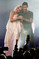 © Licensed to London News Pictures. 30/10/2018. London, UK. RITA ORA and LIAM PAYNE perform at the Westfield London 10th Anniversary Celebrations. Photo credit: Ray Tang/LNP