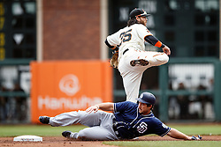SAN FRANCISCO, CA - MAY 25: Brandon Crawford #35 of the San Francisco Giants completes a double play over Brett Wallace #39 of the San Diego Padres during the second inning at AT&T Park on May 25, 2016 in San Francisco, California.  (Photo by Jason O. Watson/Getty Images) *** Local Caption *** Brandon Crawford; Brett Wallace