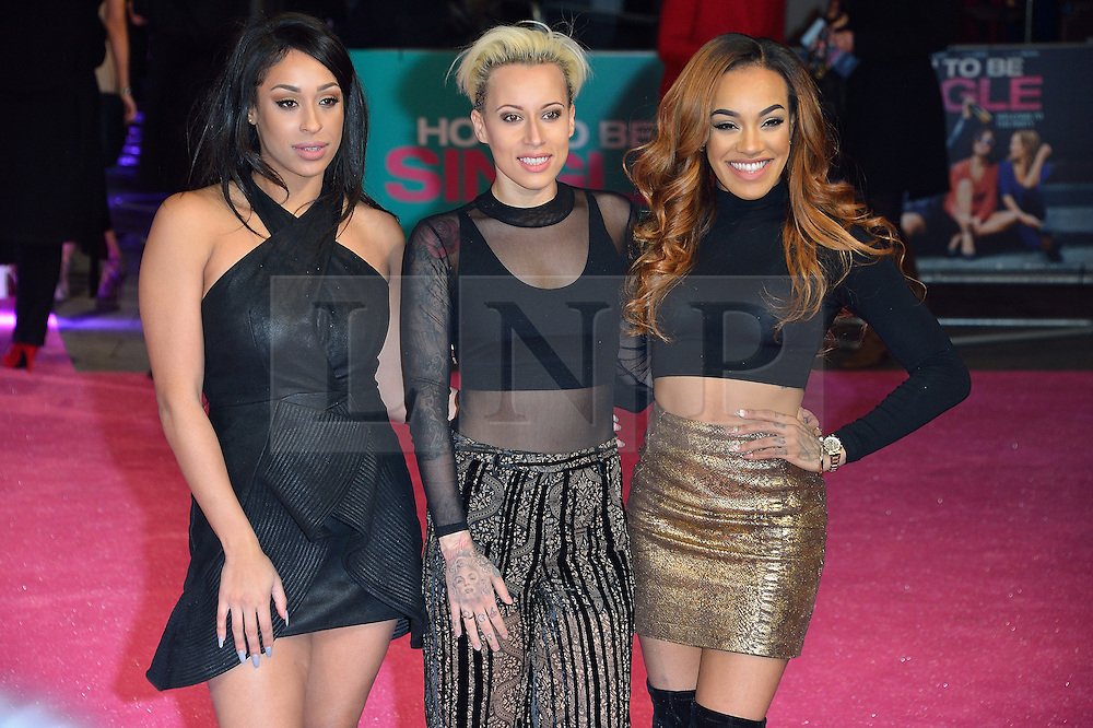 &copy; Licensed to London News Pictures. 09/02/2016. London, UK. ALEXANDRA BUGGS, COURTNEY RUMBOLD and KARIS ANDERSON of STOOSHE attend the UK film premiere of 'How To Be Single'.  The film is about a woman writing a book about bacherlorettes who becomes embroiled in an international affair while researching abroad<br /> Photo credit: Ray Tang/LNP