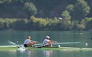 Aiguebelette, FRANCE.  GBR M2- Gold Medallist l Helen GLOVER and Heather STANNING.  2014 FISA World Cup II, 11:10:12  Sunday  22/06/2014. [Mandatory Credit; Peter Spurrier/Intersport-images]