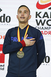 November 10, 2018 - Madrid, Spain - France's Steven Da Costa poses with his gold medal on the podium after winning the Kumite male -67kg competition at the 24th Karate World Championships at the WiZink center in Madrid on November 10, 2018. (Credit Image: © Oscar Gonzalez/NurPhoto via ZUMA Press)