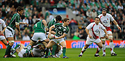 Twickenham. Great Britain, Irelands Eoin REDDAN, passes the ball out from the back of the scrum during the Six Nations Rugby, England vs Ireland,  Match played at the RFU Stadium, 15.03.2008. [Mandatory Credit. Peter Spurrier/Intersport Images]