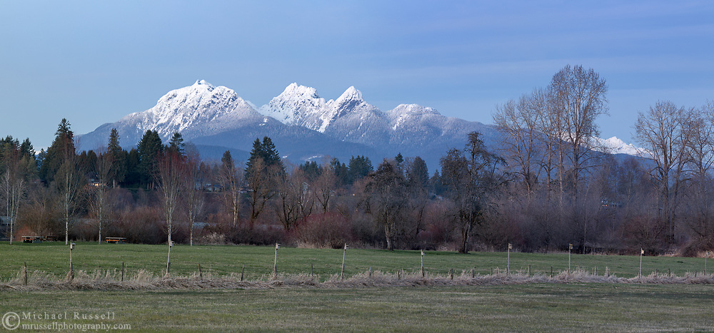 Post sunset view of Golden Ears (Mount Blanshard) and the trees along the Fraser River in Langley, British Columbia, Canada.  Photographed from Derby Reach Regional Park at Meunch Bar.