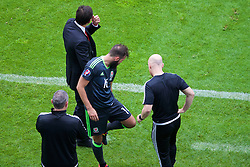 LENS, FRANCE - Thursday, June 16, 2016: Wales' Joe Ledley and physiotherapist Sean Connelly as he inspects his left leg after he is substituted during the UEFA Euro 2016 Championship Group B match against England at the Stade Bollaert-Delelis. (Pic by Paul Greenwood/Propaganda)