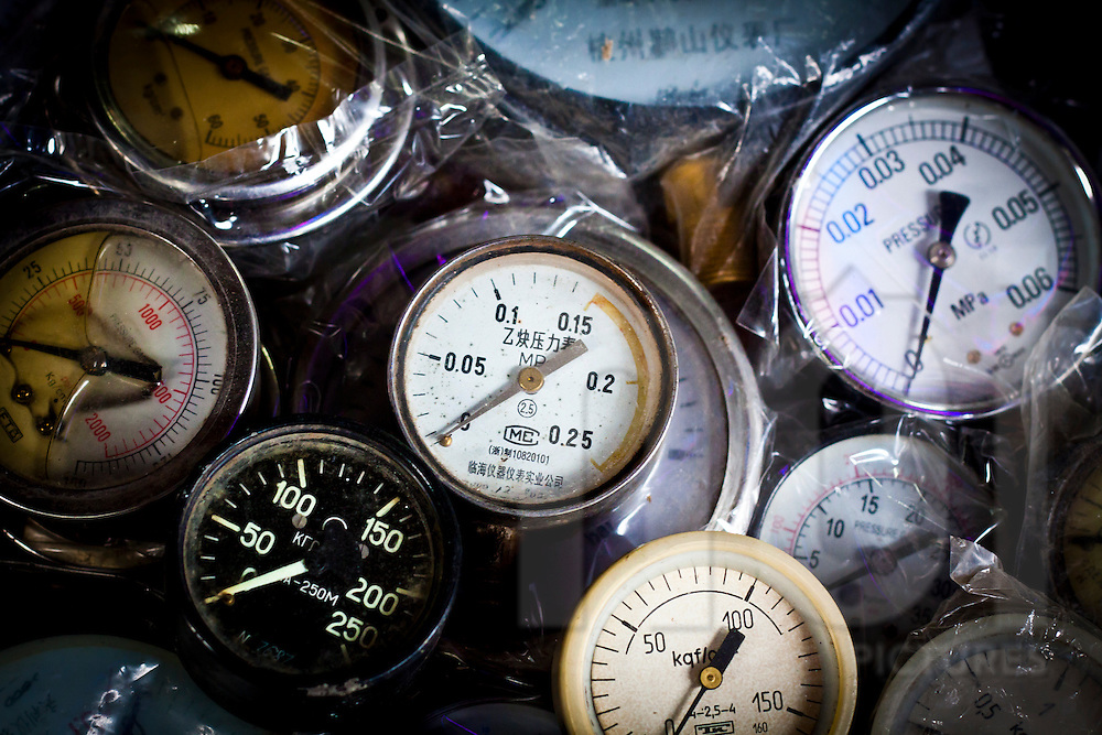Pressure guages for sale at a hardware market in Hanoi, Vietnam