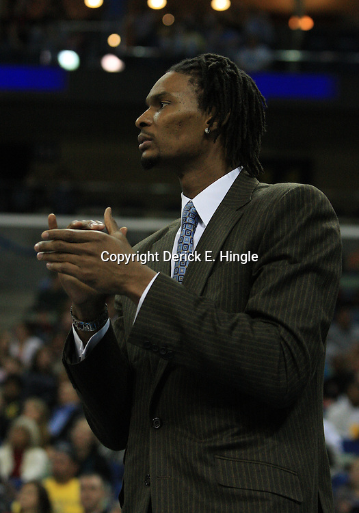 06 February 2009: Injured starter for the Toronto Raptors, Chris Bosh watches his team from the bench during a NBA game between the New Orleans Hornets and the Toronto Raptors at the New Orleans Arena in New Orleans, LA.