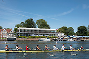 "Henley on Thames, United Kingdom, 2nd July 2018, Monday,   ""Henley Royal Regatta"",  view, ""Brown University, USA"", passing the ""Phyliss Court Club"" Grandstand, Training, on Henley Reach, River Thames, Thames ValleyEngland, © Peter SPURRIER,"