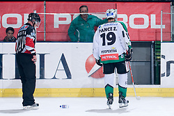 Ziga Pavlin (HDD Tilia Olimpija, #19) going to penalty box during ice-hockey match between HDD Tilia Olimpija and EHC Liwest Black Wings Linz in 37th Round of EBEL league, on Januar 9, 2011 at Hala Tivoli, Ljubljana, Slovenia. (Photo By Matic Klansek Velej / Sportida.com)