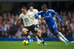 LONDON, ENGLAND - Saturday, December 4, 2010: Everton's Steven Pienaar and Chelsea's Salomon Kalou during the Premiership match at Stamford Bridge. (Pic by: David Rawcliffe/Propaganda)