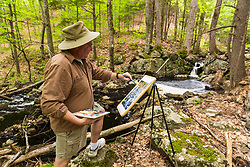 A man paints Orris Falls at the Orris Falls Preserve in South Berwick, Maine.