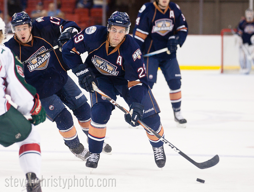 September 30, 2011: The Oklahoma City Barons play the Houston Aeros in an American Hockey League preseason game at the Cox Convention Center in Oklahoma City.
