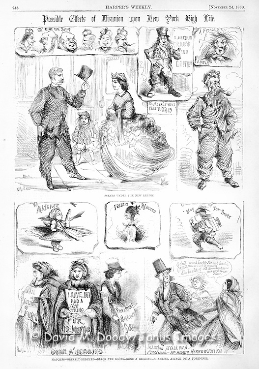 Possible effects of disunion upon New York High Life. Viuntage Illustration from Harper's November 1860.