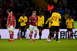 Connor Lemonheigh-Evans of Bristol City cuts a dejected figure after his side concede a goal - Mandatory by-line: Robbie Stephenson/JMP - 06/01/2018 - FOOTBALL - Vicarage Road - Watford, England - Watford v Bristol City - Emirates FA Cup third round proper