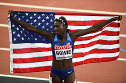 Tori Bowie of the USA celebrates gold - Mandatory byline: Patrick Khachfe/JMP - 07966 386802 - 06/08/2017 - ATHLETICS - London Stadium - London, England - Women's 100m Final - IAAF World Championships