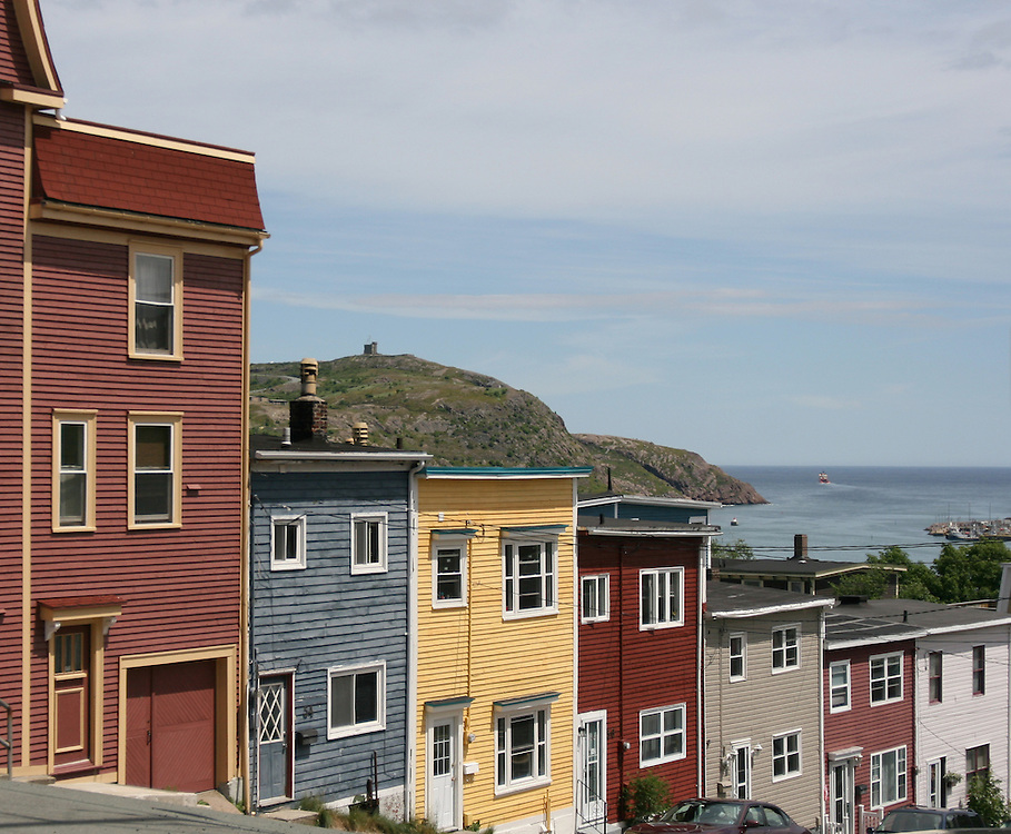 (St. John's, Canada - July 8, 2007) - A street in St. John's Newfoundland looks over the Atlantic Ocean and the Cabot Tower in the distance. Photo by Will Nunnally / Will Nunnally Photography