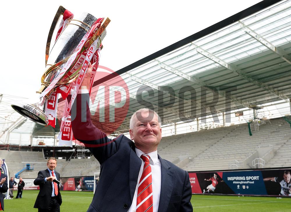 Bristol City's majority shareholder, Steve Lansdown lifts the Sky Bet League One trophy  - Photo mandatory by-line: Joe Meredith/JMP - Mobile: 07966 386802 - 03/05/2015 - SPORT - Football - Bristol - Ashton Gate - Bristol City v Walsall - Sky Bet League One