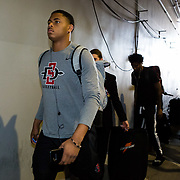 08 March 2018: San Diego State men's basketball team arrives at the Thomas & Mack Center prior to their game against Fresno State in their first game of the Mountain West Conference Tournament. <br /> More game action at www.sdsuaztecphotos.com