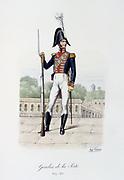 Footguard of the Royal guard, 1814-1815.   'Histoire de la maison militaire du Roi de 1814 a 1830' by Eugene Titeux, Paris, 1890.