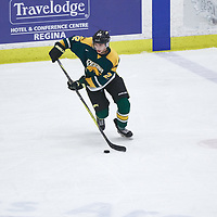 1st year defence man, Clayton Eisler (22) of the Regina Cougars during the Men's Hockey Home Game on Fri Oct 12 at Co-operators Center. Credit: Arthur Ward/Arthur Images