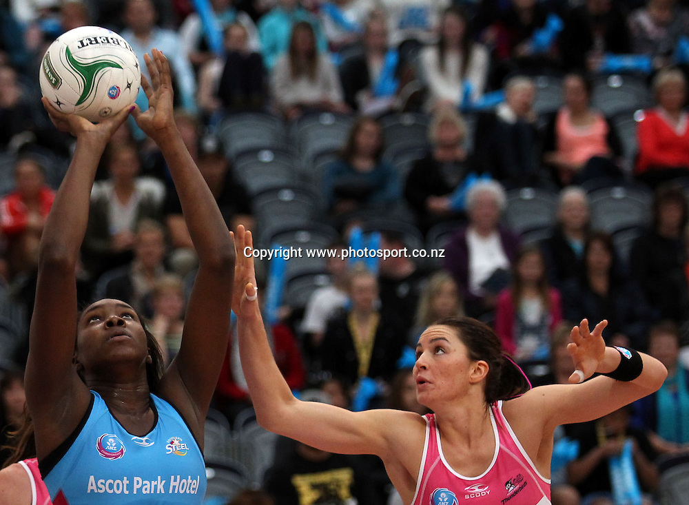 Jhaniele Fowler of the Steel looks to shoot.<br /> ANZ Championship Netball - Southern Steel v Adelaide Thunderbirds, 6 April 2013, Lion Foundation Arena - Edgar Centre, Dunedin, New Zealand.<br /> Photo: Rob Jefferies / photosport.co.nz
