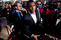 U.S. Senator Barack Obama (D-ILL) shakes hands with supporters after speaking with Wisconsin Governor Jim Doyle at a campaign for a get out the vote rally a week before the elections Tuesday Oct. 31, 2006 Milwaukee.  photo by Darren Hauck................