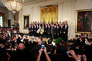 President Barack Obama welcomes the Pittsburgh Penguins to the White House to honor the team on their 2016 Stanley Cup victory. The ceremony was held in the East Room of the White House.<br /> <br /> Photo by Dennis Brack