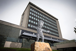 © Licensed to London News Pictures. 27/05/2016. Bradford UK. Bradford Council & the Government have spent £15,000 on a sculpture called the Baby Of The North which has been placed outside council offices in Bradford city centre. The sculpture was funded jointly by the local council & the Government & built by sculptor Craig Dyson. An official unveiling had been due to take place last Saturday but the council postponed the event indefinitely.  Photo credit: Andrew McCaren/LNP