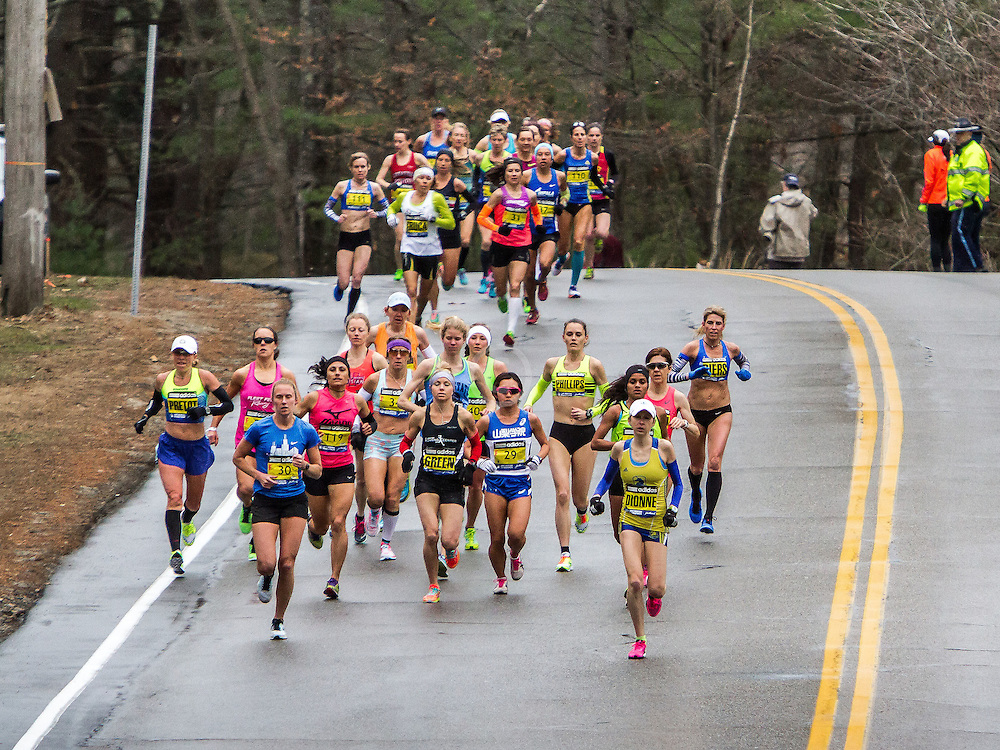 Boston Marathon: elite field of women less than mile from start, Sheri Piers and Kristin Barry of Maine