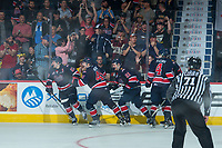 REGINA, SK - MAY 25: The Regina Pats celebrate a goal against the Hamilton Bulldogs at the Brandt Centre on May 25, 2018 in Regina, Canada. (Photo by Marissa Baecker/CHL Images)
