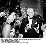 Laure Boulay de Meurthe &amp; Sir James Goldsmith.  Ball given by Count Giovanni Volpi. Venice. 31 August 1991. Film 91589f31<br />&copy; Copyright Photograph by Dafydd Jones<br />66 Stockwell Park Rd. London SW9 0DA<br />Tel 0171 733 0108