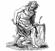 Flagellant: 16th century woodcut by Jost Amman. Sect, founded 1260, whipped themselves until blood ran in order to obtain God's mercy and to appease his wrath for the sins of mankind. During time of Plague they would process through the streets.