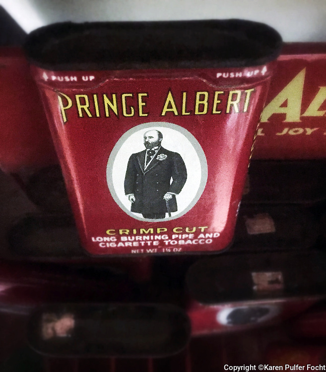 An old can of Prince Albert tobacco is on display in Schwab's general store on Beale Street, Memphis, Tennessee.