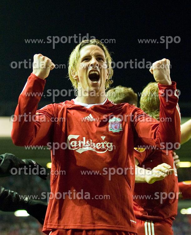 08.04.2010, Anfield Road, Liverpool, ENG, UEFA EL, Liverpool FC vs SL Benfica im Bild Torjubel von Liverpool's Fernando Torres, EXPA Pictures © 2010, PhotoCredit: EXPA/ Propaganda/ D. Rawcliffe / SPORTIDA PHOTO AGENCY