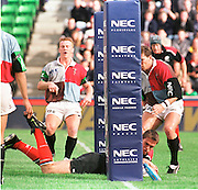 Twickenham, GREAT BRITAIN. Tony Diprose touches down for Saracens, during the Harlequins v Saracens on 9/10/1999 at the Stoop. England.  [Mandatory Credit; peter Spurrier; Intersport Images]