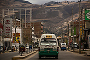 "A burnt mountain top with the reading ""No to Conga"" is seen from a main avenue in Cajamarca, Peru, Saturday, October, 2015.(Hilaea Media/ Dado Galdieri)"