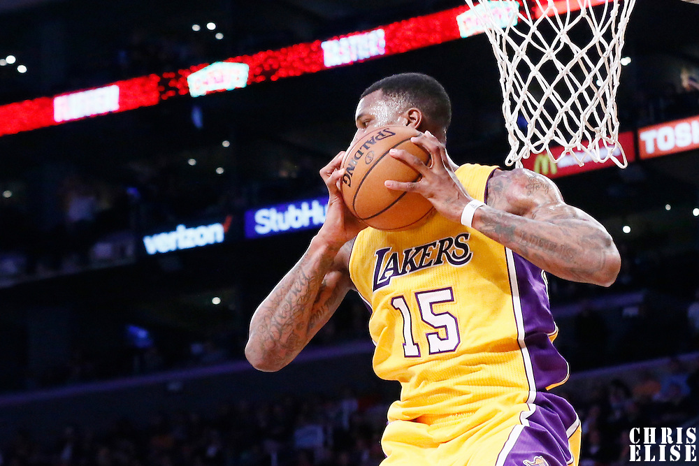 05 December 2016: Los Angeles Lakers forward Thomas Robinson (15) grabs a rebound during the Utah Jazz 107-101 victory over the Los Angeles Lakers, at the Staples Center, Los Angeles, California, USA.