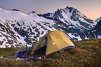 Afterglow over alpine camp with Mount Shuksan in the distance, North Cascades Washington