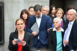 © Licensed to London News Pictures. 23/11/2016. London, UK. Jo Cox's family,  Husband Brendan Cox, sister Kim Leadbeater and parents Jean and Gordon Leadbeater outside the Old Bailey in London where a guilty verdict was returned in the murder trial of Labour MP Jo Cox. Thomas Mair was found guilty of shooting and stabbing the mother-of-two in Birstall, West Yorkshire, on 16 June. Photo credit: Ben Cawthra/LNP