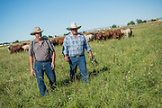 Bill Gales and Ed Wilsey of Homstead Natural Foods on Bill's ranch in Middleton, Idaho.