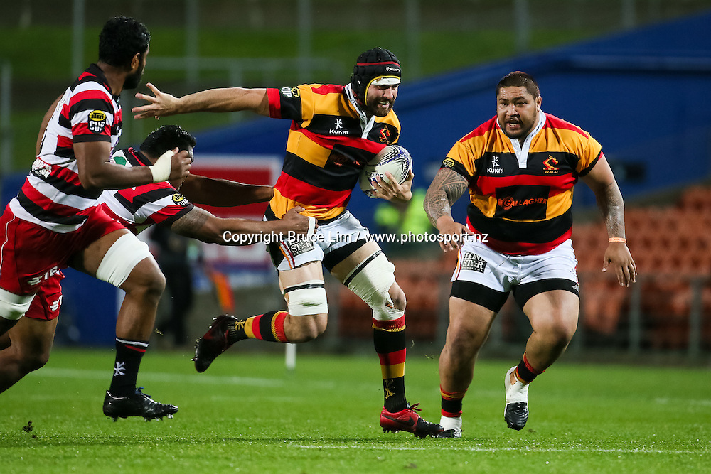 Waikato Number 8 Adam Burn makes a break during the ITM Cup rugby match - Waikato v Counties at Waikato Stadium on Friday 2 October 2015.  <br /> <br /> Copyright Photo:  Bruce Lim / www.photosport.nz