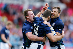 *CAPTION CORRECTION* Scotland Winger Tommy Seymour celebrates with Full Back Stuart Hogg and Winger Sean Lamont after scoring a try - Mandatory byline: Rogan Thomson/JMP - 07966 386802 - 23/09/2015 - RUGBY UNION - Kingsholm Stadium - Gloucester, England - Scotland v Japan - Rugby World Cup 2015 Pool B.