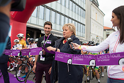 Norwegian Prime Minister Erna Solberg officially starts the race and Stage 1 of the Ladies Tour of Norway - a 101.5 km road race, between Halden and Mysen on August 18, 2017, in Ostfold, Norway. (Photo by Balint Hamvas/Velofocus.com)