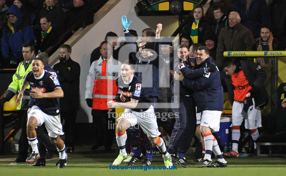 Picture by David Horn/Focus Images Ltd +44 7545 970036.26/01/2013.The Luton Town bench celebrate victory during the The FA Cup match at Carrow Road, Norwich.