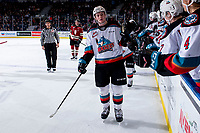 KELOWNA, BC - FEBRUARY 15: Jake Lee #21 of the Kelowna Rockets fist bumps the bench to celebrate a goal against the Red Deer Rebels at Prospera Place on February 15, 2020 in Kelowna, Canada. (Photo by Marissa Baecker/Shoot the Breeze)