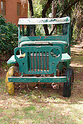 Old disused green Jeep